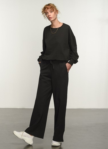 People By Fabrika People By Fabrika Kemer Detaylı Kadın Pantolon Siyah